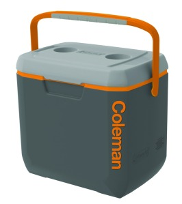 coleman 28 gray orange cooler